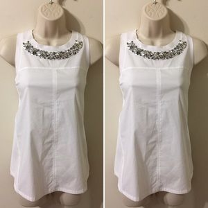 Rebecca Taylor White Tank Top with Silver Flowers